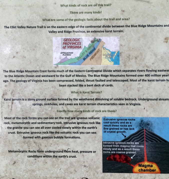 I tip my sun hat to the creator of this interpretive sign.  It's placed near some huge outcrops of stone that you can't help but examine more closely after you've read this sign.